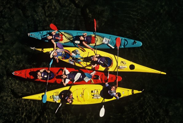 Kayaks from Falls River bridge